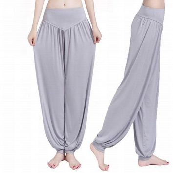 VLX0E4 2016 Autumn Winter Loose Women Sport Yoga Pants High waist Women Harem Modal Dancing Trouser Women YG011