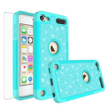 Apple iPod Touch 5 Case, Touch 6 Case,Glitter Bling Heavy Duty Hybrid Case with [HD Screen Protector] Dual Layer Protective Phone Case Cover - Teal