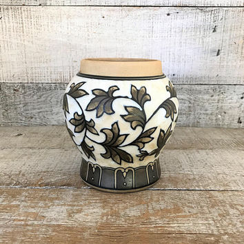 Ceramic Vase Enamel Vase Hand Painted Ornate Vase Mid Century Vase Enamel and Ceramic Vase Flower Vase Cottage Chic Decor Boho Decor