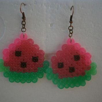 Watermelon Perler Bead Earrings with copper connector rings and earhooks