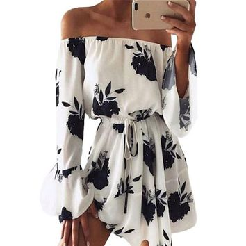 [15798] Floral Printed Off Shoulder Summer Dress