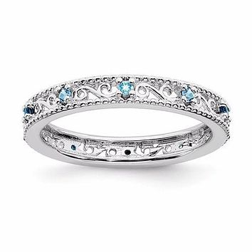 Sterling Silver Stackable Expressions Blue Topaz Filigree Ring