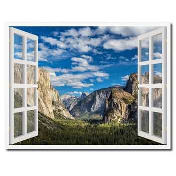 Tunnel View Yosemite National Park California Picture French Window Framed Canvas Print Home Decor Wall Art Collection
