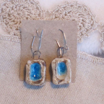 Primitive Design Earrings, Medallion style Natural Clay Ornaments, Raku fired Earrings,