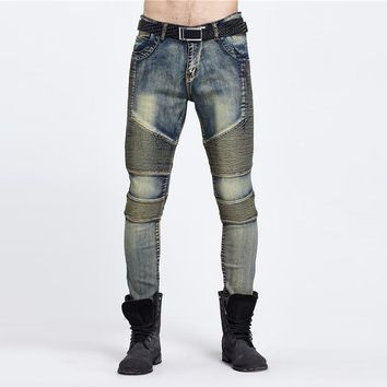 west styles biker jeans rockMens hip hop swag jeans denim pants male elastic retro joggers washed skinny motorcycle hot
