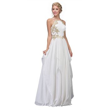 A-line Tiered Long Prom Dress Appliqued Bodice Off White