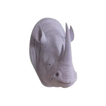 The Large Serengeti Lavender Faux Taxidermy Resin Rhino Head Wall Mount | Lavender Rhinoceros w/ Colored Horns