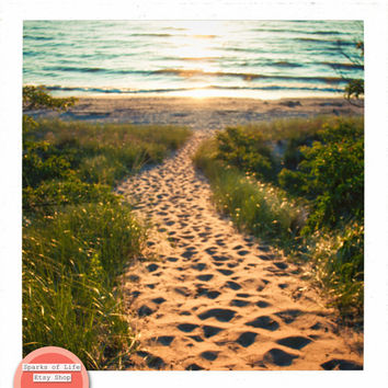 Square digital download, Lake Michigan photography, instant printable, summer wall art, fine art photography, sand path to the beach, sunset