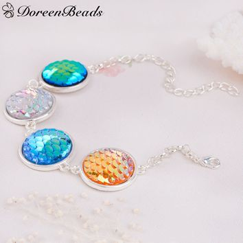 DoreenBeads Resin Mermaid Fish /Dragon Scale Bracelets Link Cable Chain silver color Multicolor Round Fish Scale 17.5cm,1 PC