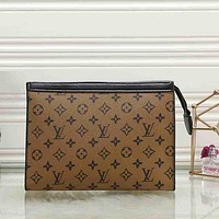Louis Vuitton LV Women Fashion Leather Zipper Envelope Clutch Bag File Bag Tote Handbag