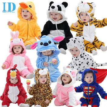 IDGIRL Spring Autumn  Baby Clothes Flannel Baby Boy Clothes Cartoon Animal Jumpsuit  Baby Girl Rompers Baby Clothing XYZ15088