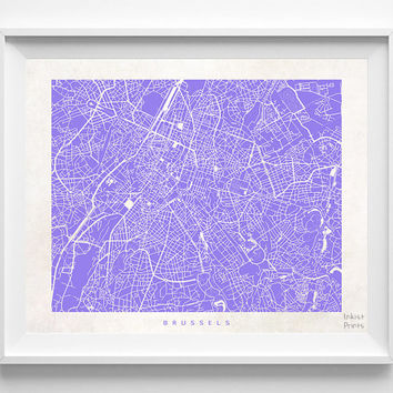 Brussels, Map, Belgium, Poster, Europe, Print, Beautiful, State, Nursery, Decor, Town, Illustration, Room, World, House, Street [NO 586]