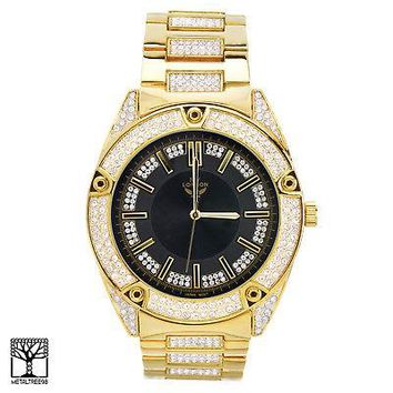 Jewelry Kay style Fashion Iced Out Gold Plated CZ Metal Band Men's Watches WM 1558 GBK
