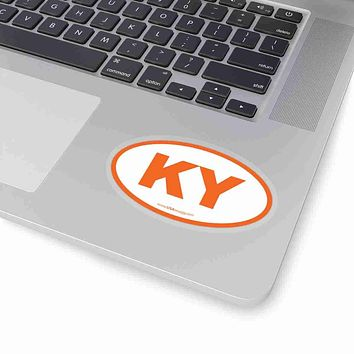 Kentucky KY Euro Oval Sticker ORANGE