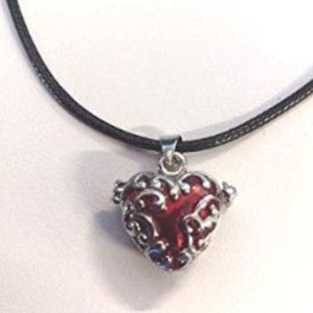 Silver Red Enamel Heart Locket Necklace
