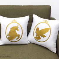 Hand Cut Gold Unicorn And Fairy Cameo White Decorative Pillow Covers