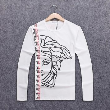 Versace Autumn Long Sleeve Tide Brand Men's Chest Classic Printed Round Collar Sweater White