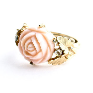 Vintage Rose Ring - Gold Tone Signed Avon 1970s Romantic Costume Jewelry / Pink Serena Rose