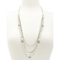 LAYERED PEARLS & CHAINS NECKLACE