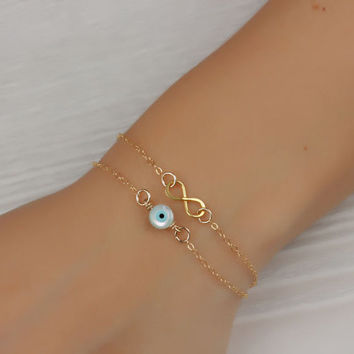 "Gold evil eye bracelet, double infinity bracelet, evil eye bracelet, silver infinity bracelet, to infinity and beyond bracelet, ""Harpies"""