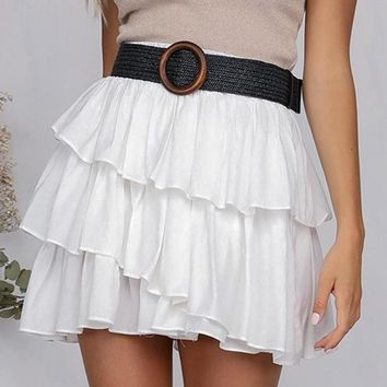 Mohini Ruffled White Skirt