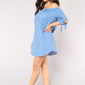 Back On The Mainland Striped Dress - Dark Blue/White