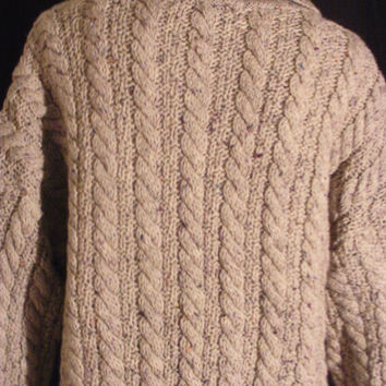 Vintage Men's Fisherman's Cable Knit Cardigan Sweater Heather Grey