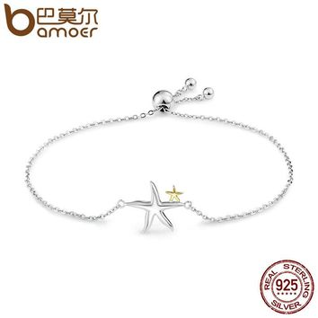 Romantic Genuine 925 Sterling Silver Starfish Fairy Tale Women Chain Link Bracelet Luxury Sterling Silver Jewelry SCB025