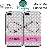 Best Friends iPhone 5C Case , iPhone 4 4S Case , iPhone 5S Case , Polka Dots iPhone 5 Case , iPhone Case , TWO CASE SET