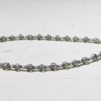 Grey Anklet Small Seed Beads Handmade Beaded Plus size Bracelet 9 Inch Hippie Beach Surfer Jewelry Bohemian Indie Festival Gothic Gypsy