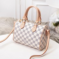LV Louis Vuitton New Fashion Monogram Check Print Shopping Leisure Shoulder Bag Women Handbag