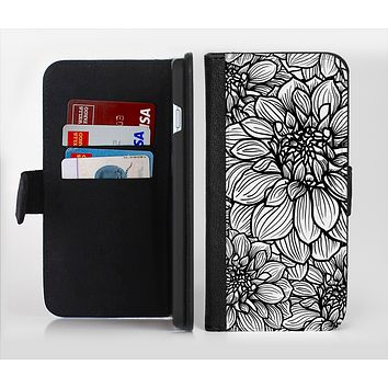 The White and Black Flower Illustration Ink-Fuzed Leather Folding Wallet Credit-Card Case for the Apple iPhone 6/6s, 6/6s Plus, 5/5s and 5c