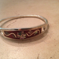 Vintage Alpaca Silver Bracelet Red Abalone Flower Inlay Mexican Jewelry Mexico Boho