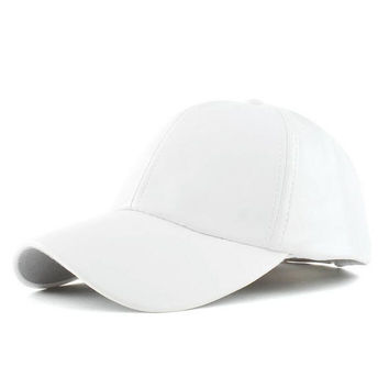 White Leather Look Baseball Cap