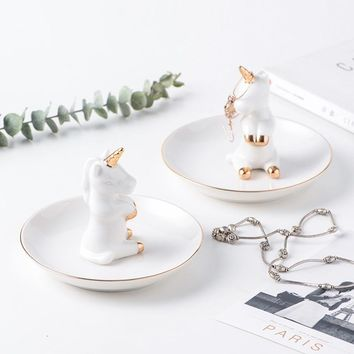 Decorative Unicorn Porcelain Plate Ring Plate Rings Holder Bracelets Earrings Trays Small Jewelry Rack Ceramic Ring Dish