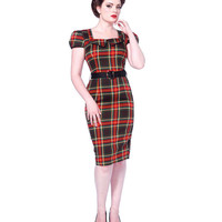 Voodoo Vixen Retro Red Plaid Pencil Dress