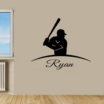 Baseball Wall Decals Man Personalized Name Sport Boy Sportsman Stickers Home Decor Vinyl Decal Sticker Kids Nursery Baby Room Decor KG649