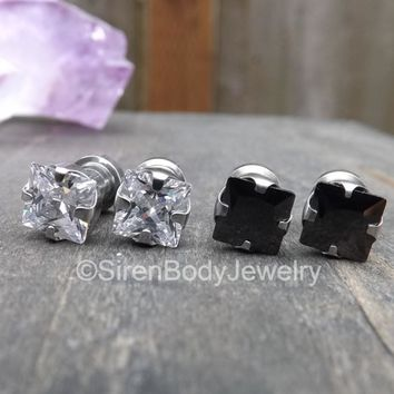 Screw fit diamond gemstone plug earrings silver gauges pair 6g 2g bling stainless steel plugs black clear prong set crystal gemstones glitz