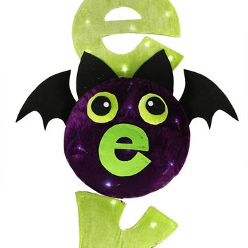 """31"""" LED Lighted Lime Green and Purple """"EEK"""" Spooky Bat Hanging Halloween Decoration"""