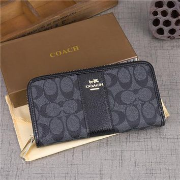 Coach Women Multifunction Purse Clutch Fashion Multicolor Classic Letter Logo Print Long Section Zip Wallet-1