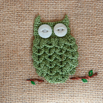 Balsam sachet pillow, hand crocheted owl applique, rustic home decor, xmas ornament
