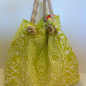 NWT Donna Dixon Large Canvas & Rope Strap Green and White Boho Tote / Beach Bag