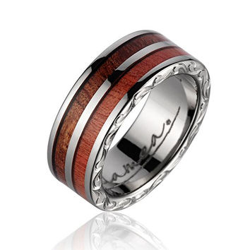 GENUINE PINK IVORY WOOD HAWAIIAN KOA WOOD WEDDING BAND RING TITANIUM SCROLL 7MM 4-13