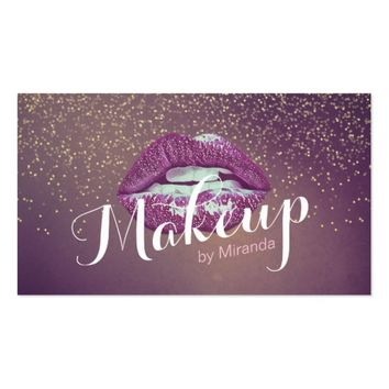 Purple Lips Makeup Artist Gold Glitter Appointment Business Card
