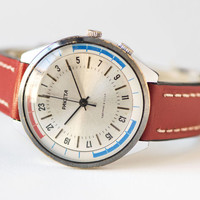 Unusual men's watch, 24 hours watch chunky, silver red blue watch Rocket, unique gift him, premium leather strap new