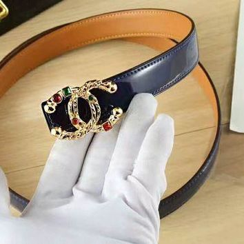 CHANEL Agate Woman Fashion Smooth Buckle Belt Leather Belt