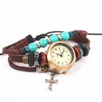 Vintage Style Watch with Turquoise Beads and Cross Pendant GGC35