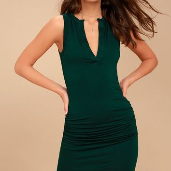 Hopes and Dreams Forest Green Sleeveless Bodycon Midi Dress