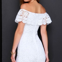 Islands in the Stream White Lace Off-the-Shoulder Dress