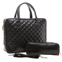 14.1 inch Classic All Black Professional Diamond Quilted Pattern Bubble Foam Padded Laptop Computer Notebook Sleeve Office Tote Briefcase Carry Case Messenger Shoulder Bag